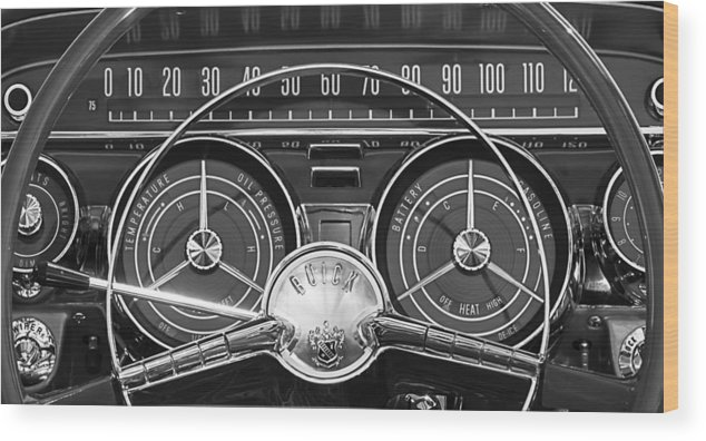 1959 Buick Lesabre Wood Print featuring the photograph 1959 Buick Lasabre Steering Wheel by Jill Reger
