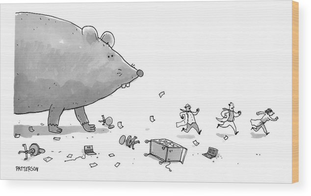 Rats Wood Print featuring the drawing Captionless. Cctk. A Giant Rat Chases Scientists by Jason Patterson