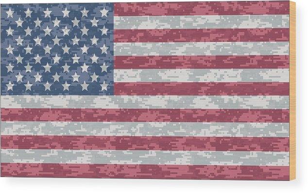 Flag Wood Print featuring the digital art Digital Camo Us Flag by Ron Hedges f22ea922e4a