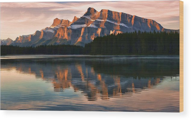 two Jack Lake Wood Print featuring the photograph Early Morning Light At Two Jack by Jeff R Clow