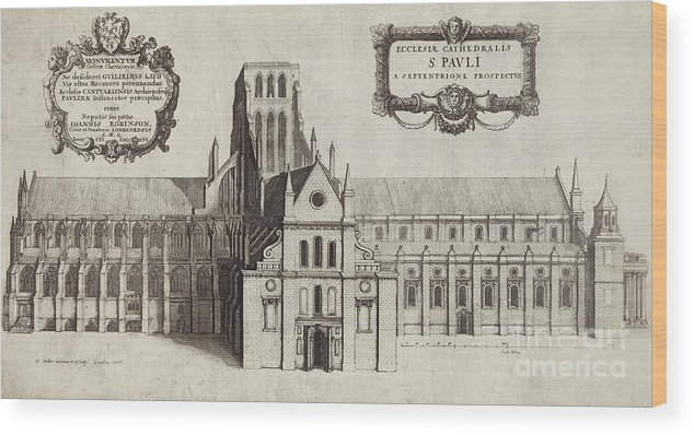 St Paul's Cathedral Wood Print featuring the photograph St Paul's Cathedral, 17th Century Artwork by British Library