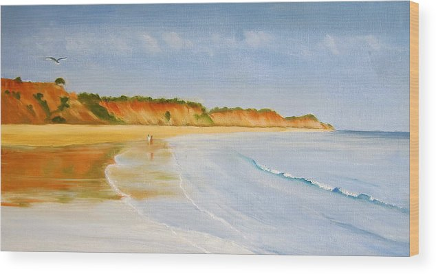 Seascape Wood Print featuring the painting The Algarve by Heather Matthews