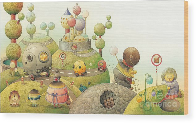 Green Lanscape Tree Wood Print featuring the painting Lisas Journey06 by Kestutis Kasparavicius