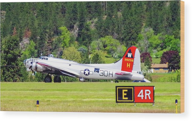 B-17 Bomber Wood Print featuring the photograph B-17 Bomber Taxiing 1 by Mike Wheeler