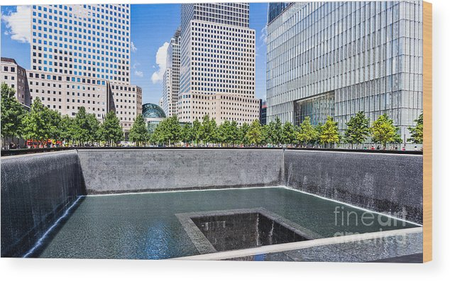 Twin Towers Wood Print featuring the photograph 911 Memorial - Panorama by John Waclo