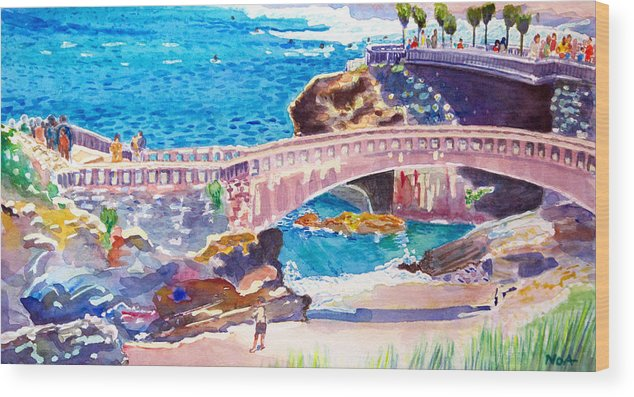 Seascape Wood Print featuring the painting Biarritz by Aymeric NOA