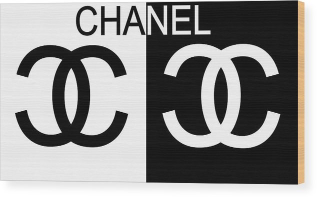Black And White Chanel Wood Print featuring the mixed media Black And White Chanel by Dan Sproul