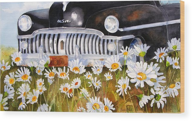 Artist Suzy 'pal' Powell Wood Print featuring the painting Daisy Desoto by Suzy Pal Powell