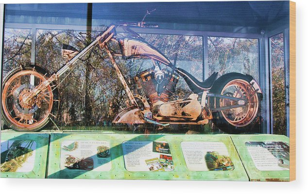 Liberty Bike Wood Print featuring the photograph Display Lady Liberty Copper Bike Ny by Chuck Kuhn