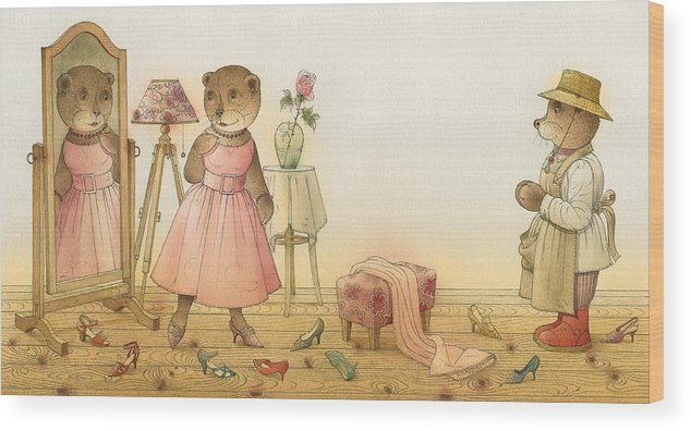 Love Flirt Glamour Bears Amour Rose Fashion Wood Print featuring the painting Florentius The Gardener16 by Kestutis Kasparavicius