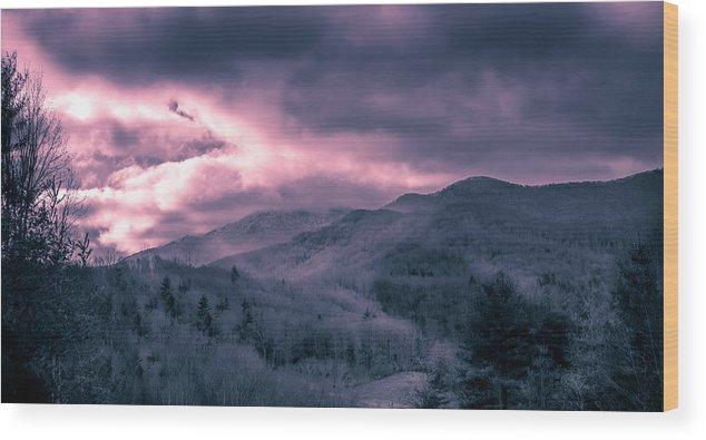 This Photograph Was Taken In Western Nc In The Appalachian Mountains. Wood Print featuring the photograph Frosty Mountain Sunrise by Capturing The Carolinas