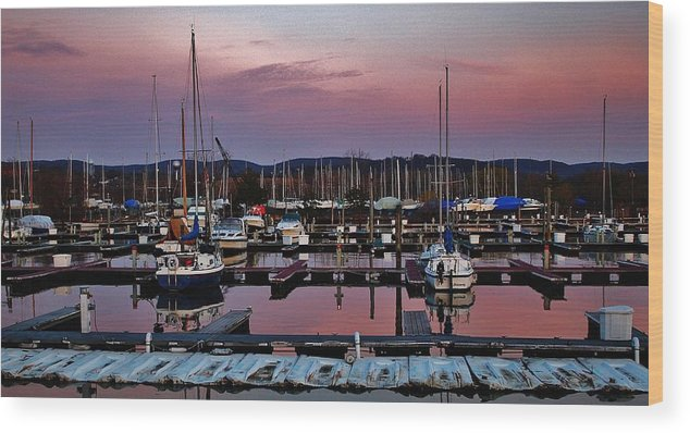 Hudson Valley Landscapes Wood Print featuring the photograph Haverstraw Marina At Dawn by Thomas McGuire
