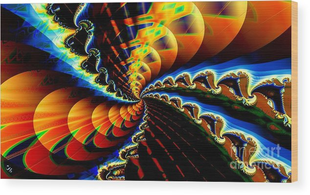 Fractal Wood Print featuring the digital art Ice Comet by Ron Bissett