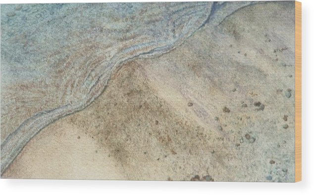 Watercolor Wood Print featuring the painting Lapping. Gentle Wavelet Caressing The Shore. by Lynn ACourt