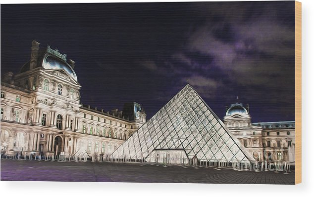 Paris Wood Print featuring the photograph Louvre Museum 2 Art by Alex Art and Photo