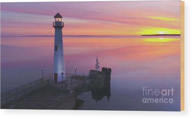 Beacon Wood Print featuring the photograph Majestic Wawatam Lighthouse In Stunning Predawn Light by James Brey