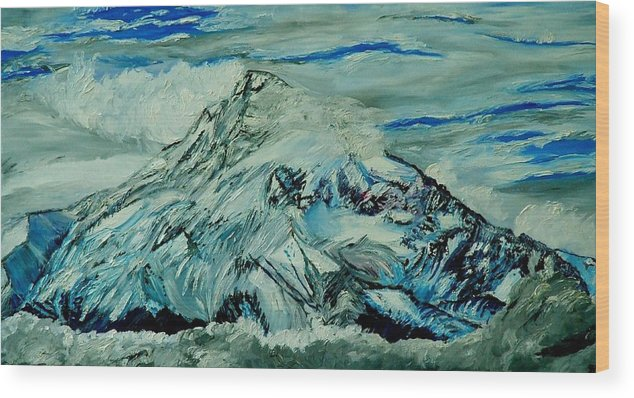 Mountain Wood Print featuring the painting Mount Hood by Gregory Allen Page