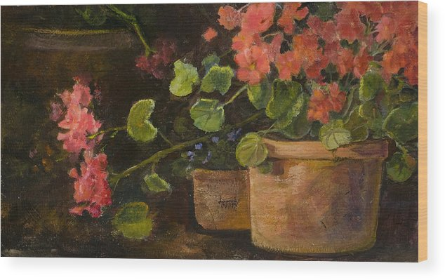 Flowers Wood Print featuring the painting Pots Of Geraniums by Jimmie Trotter