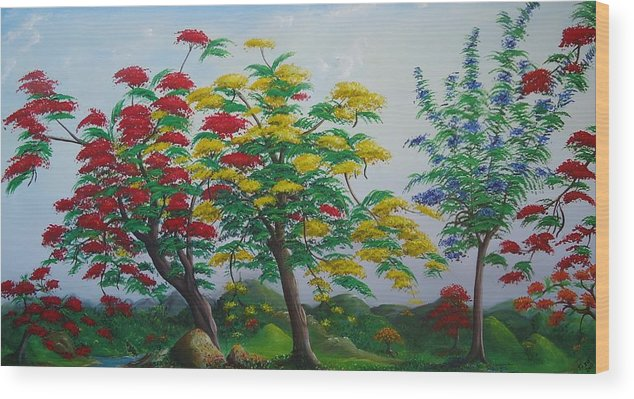 Flamboyanes Wood Print featuring the painting Primavera by Toyo Perez