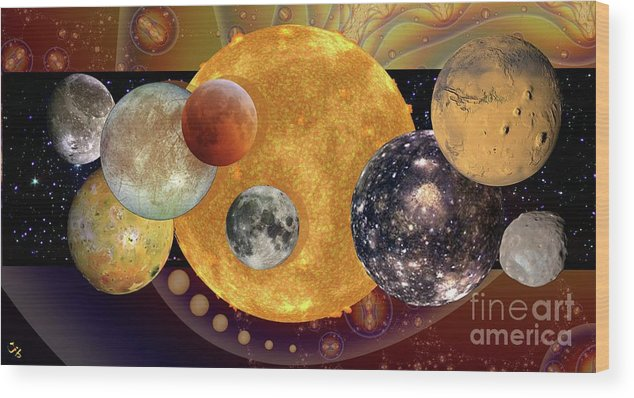 Sun And Moons Wood Print featuring the digital art Sun With Planet Moons by Ron Bissett