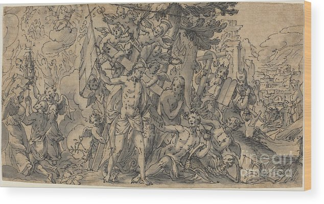 Wood Print featuring the drawing The Way Of Salvation by Georg Pecham