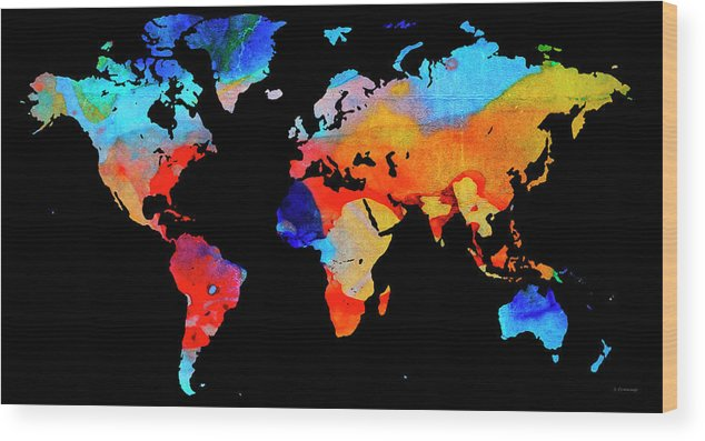 World map 18 black background wood print by sharon cummings map wood print featuring the painting world map 18 black background by sharon cummings gumiabroncs Images