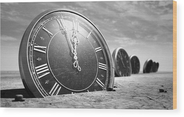 Clock Wood Print featuring the digital art Antique Clocks In The Desert Sand by Allan Swart