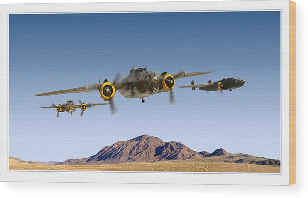 B-25 Mitchell Bomber Framed Prints Wood Print featuring the photograph B-25 Mitchell Bomber by Larry McManus