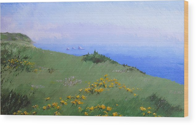 Landscape Wood Print featuring the painting Big Sur by Hunter Jay