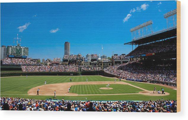 Cubs Wood Print featuring the photograph Day Game At Wrigley Field by Anthony Doudt