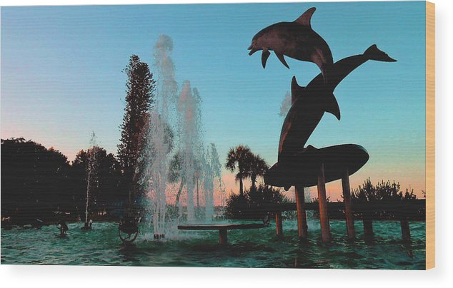 Wood Print featuring the photograph Dolphin Dance by Pepsi Freund