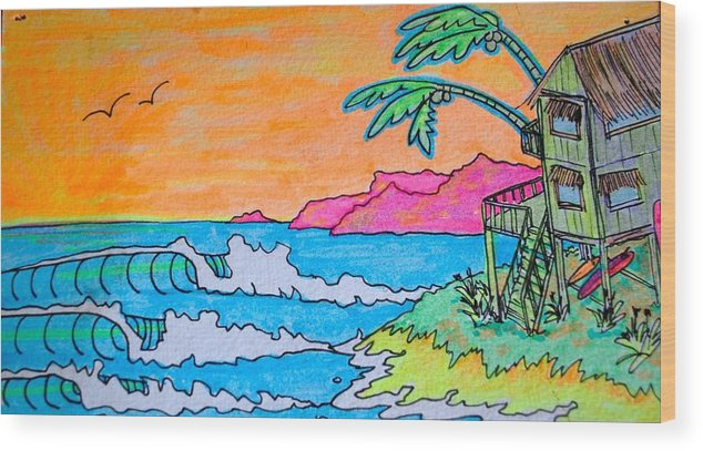 Island Wood Print featuring the drawing Dream Spot by Kim Hamrock