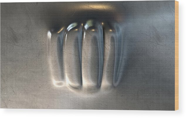 Action Wood Print featuring the digital art Fist Punched Metal by Allan Swart