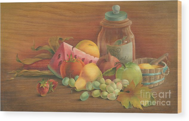 Wood Print featuring the painting Harvest Fruit by Doreta Boyd