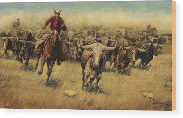 Longhorn Wood Print featuring the painting Longhorn Stampede by Don Langeneckert