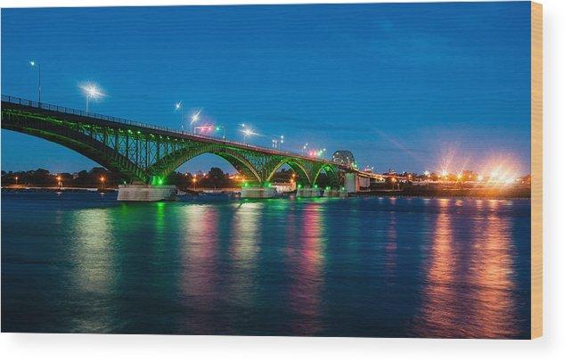 Peace Bridge Wood Print featuring the photograph Peace Bridge And Buffalo Lights by Rosemary Legge