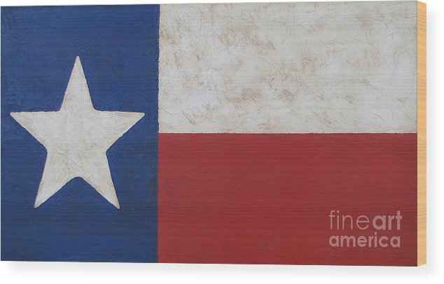 Tx Flag Stained Wood Print featuring the painting Texas Flag by Jimmie Bartlett