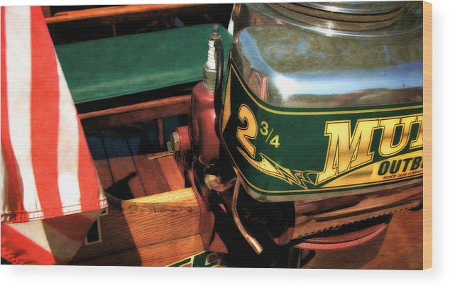 Muncie Gear Company Wood Print featuring the photograph Two And Three Quarters Hp Muncie Outboard Motor by Michelle Calkins