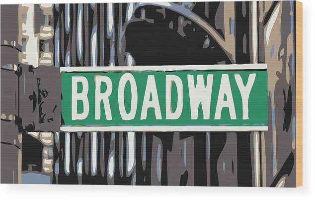 New York Broadway Sign Wood Print featuring the photograph Broadway Sign Color 6 by Scott Kelley