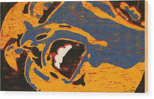 Yellow Blue Black Expression Berlato Pop Wood Print featuring the painting Expresiones 6 by Jorge Berlato
