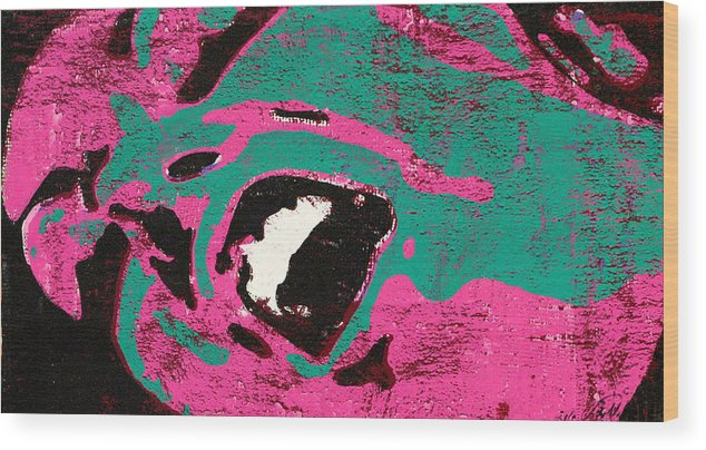 Pink Green Black Expression Pop Berlato Wood Print featuring the painting Expresiones 9 by Jorge Berlato
