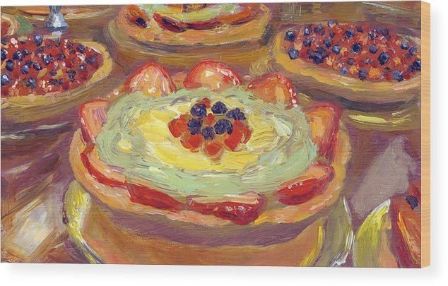 Fruit Wood Print featuring the painting Fruit Tarts by Scott Bennett
