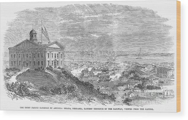 1869 Wood Print featuring the photograph Omaha, Nebraska, 1869 by Granger