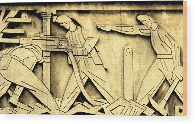 Toronto Stock Exchange Wood Print featuring the photograph Stock Exchange Miners by Ian MacDonald