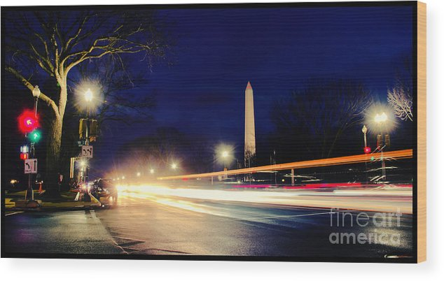 Washington Monument Wood Print featuring the photograph Washington Monument On A Rainy Rush Hour by Jim Moore
