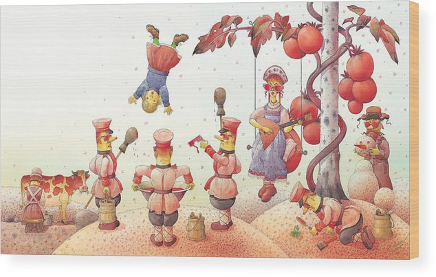 Red Communism Russia Wood Print featuring the painting Lisas Journey09 by Kestutis Kasparavicius