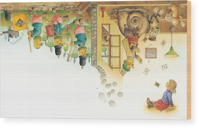 Yellow Dream Sleep Wood Print featuring the painting Lisas Journey11 by Kestutis Kasparavicius