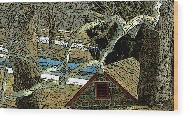 Brandywine Pennsylvania Springhouse Snowy Rural Country Battlefield Historic Gordon Beck Art Wood Print featuring the photograph Brandywine Springhouse by Gordon Beck