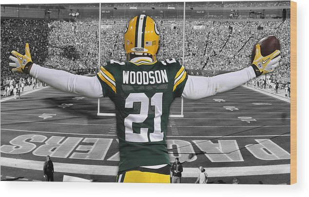 best sneakers 3e746 28d4c Charles Woodson Green Bay Packers Stadium Art 2 Wood Print