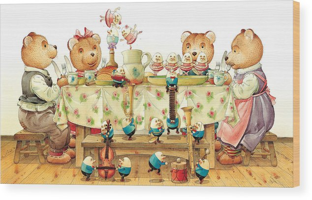 Eggs Easter Wood Print featuring the painting Eggs Ballet by Kestutis Kasparavicius